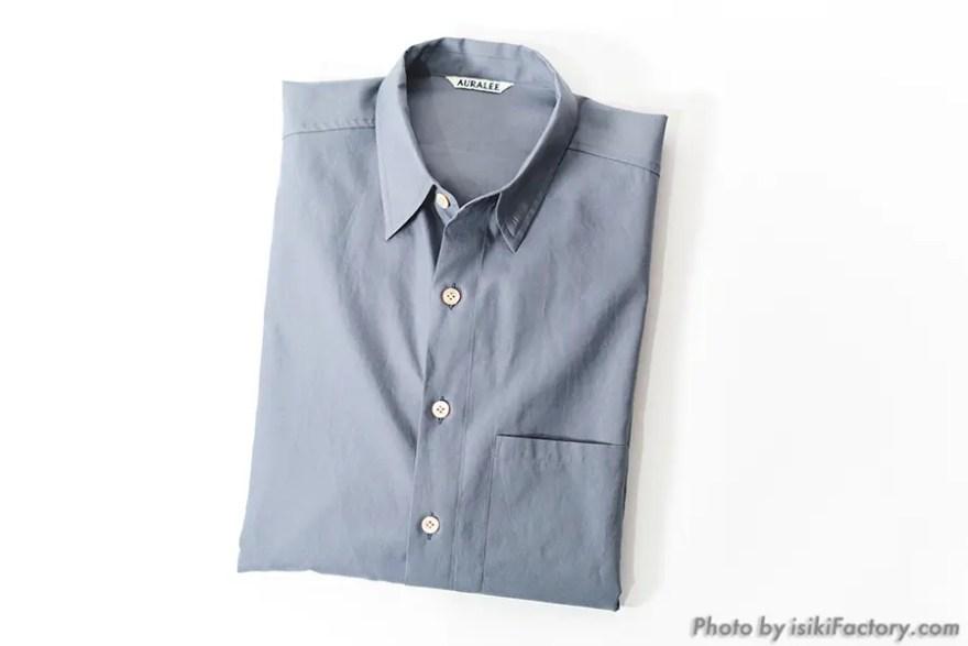 オーラリービッグシャツ:ブルーグレー