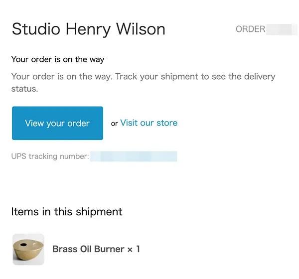 ヘンリー・ウィルソンのサイトから購入メール