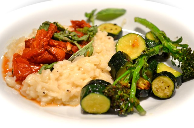 Risotto With Oven Dried Tomatoes And Green Veg Sauté