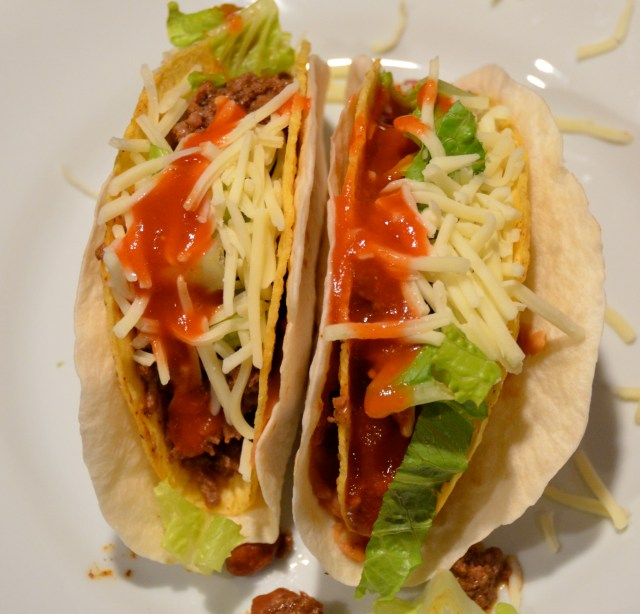 Double Shell Beef and Bean Tacos