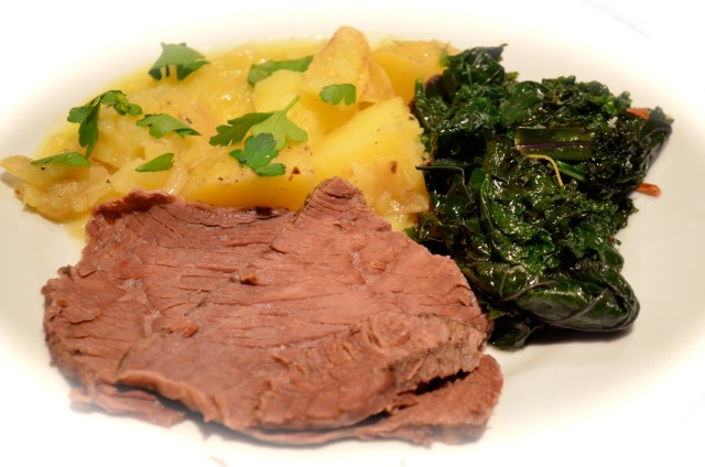 Spiced Beef. Kale with Garlic and Lemon. White Wine Smashed Potatoes.