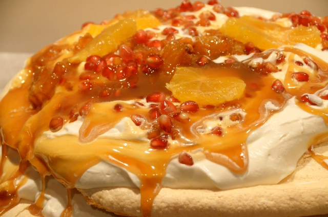 Caramelized Clementine And Pomegranate Pavlova