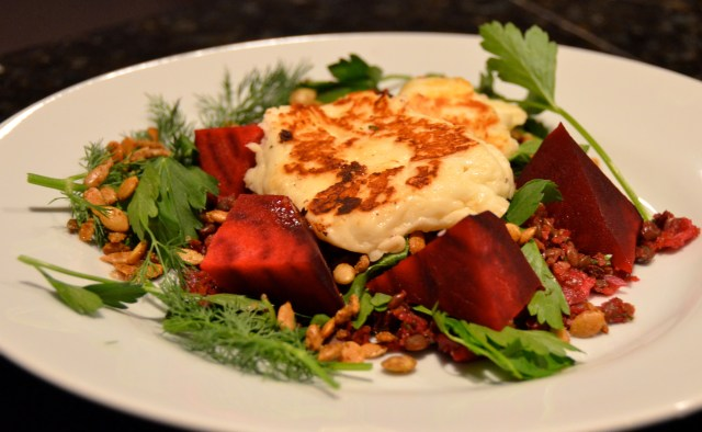 Herbed Lentil And Beetroot 'Couscous' With Halloumi And Spiced Seeds