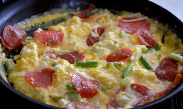Pepperoni And Cheese Scrambled Eggs