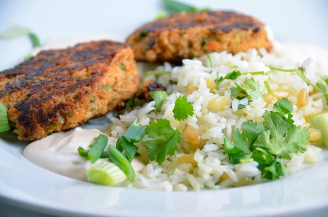 Salmon Cakes With Creamy Ginger-Sesame Sauce And Herbed Basmati Rice