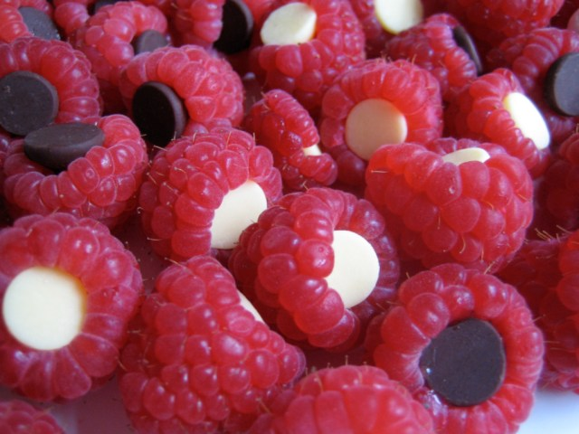 Chocolate Chip Filled Raspberries
