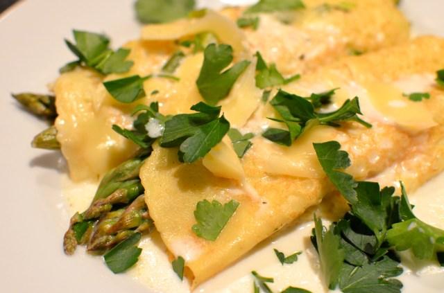 Asparagus Crêpes With Fontina Cheese