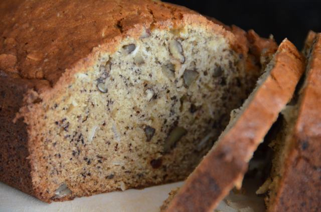 Banana Bread With Coconut, Raisins And Pecans