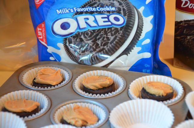 Oreo Peanut Butter Brownie Cupcakes