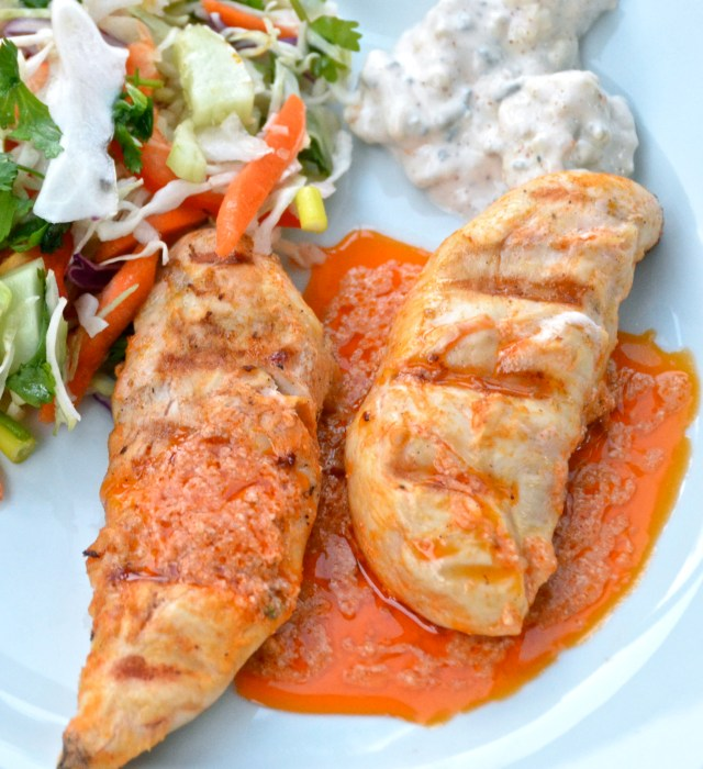 Grilled Buffalo Chicken Strips With Sweet And Spicy Asian Slaw