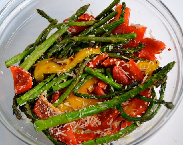 Grilled Asparagus And Peppers.