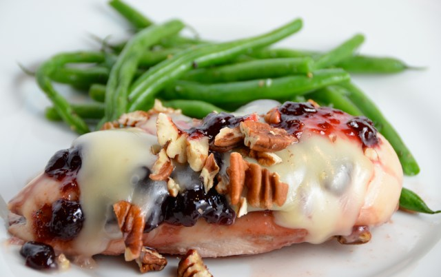 Cherry-Glazed Chicken With Fontina And Pecans
