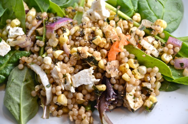 H Corn, Feta and Couscous Salad With Basil Vinaigrette