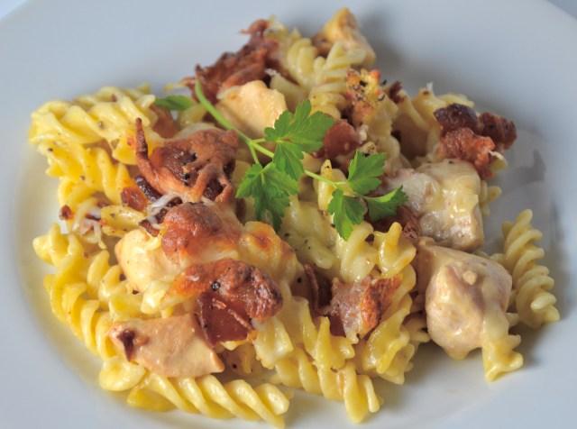 Cheesy Bacon Chicken Pasta Casserole