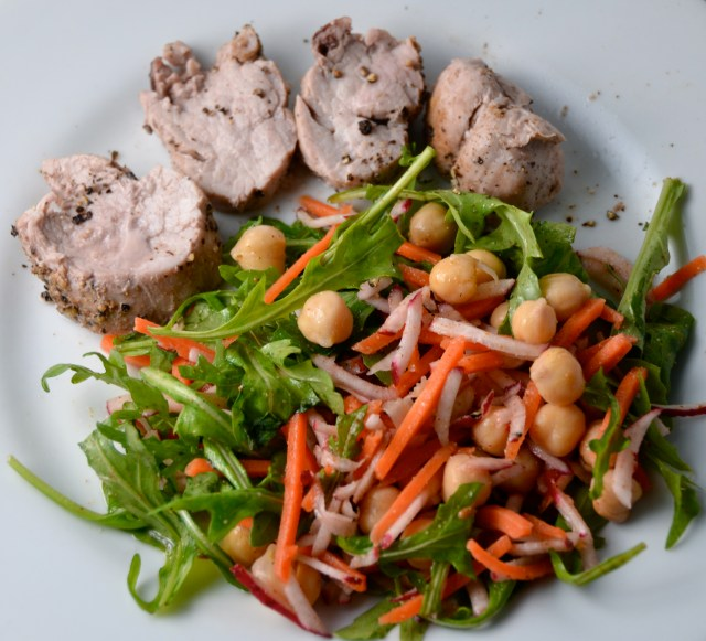 Roast Pork Tenderloin With Chickpea Carrot Salad