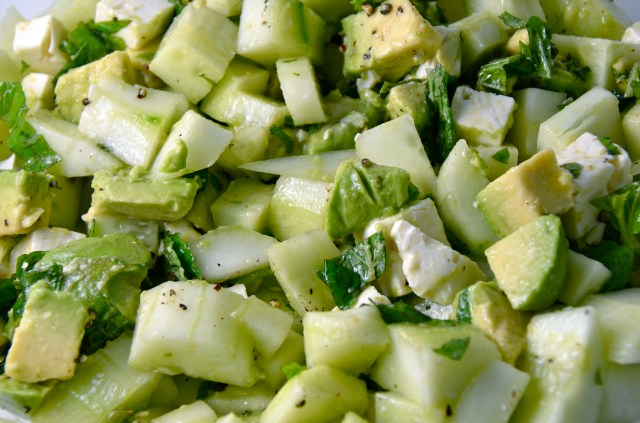 Cucumber-Avocado Salad With Lime, Mint, And Feta