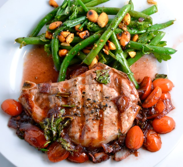 Pork With Strawberry-Port Sauce. Green Bean, Cilantro And Soy-Glazed Almond Salad.