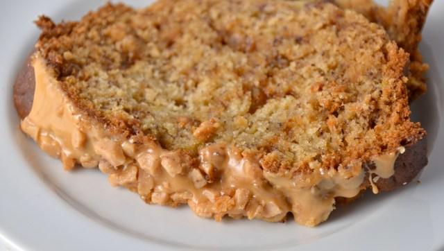 Caramel Toffee Banana Bread With Caramel Glaze