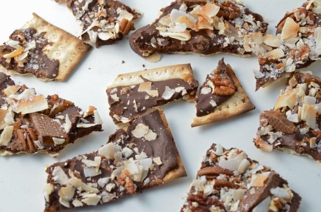 Chocolate, Toffee, and Coconut Matzo