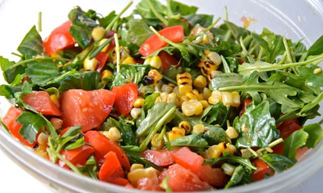 Grilled Corn, Tomato And Arugula Salad