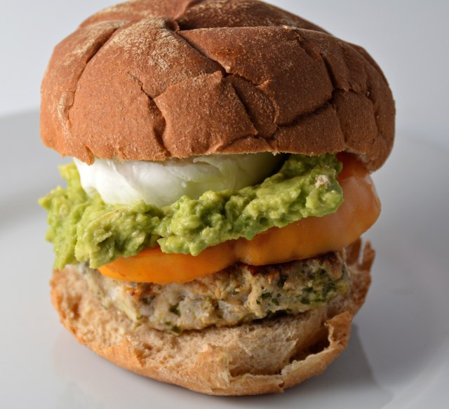 Burrata And Guacamole Topped Chicken Pesto Burger