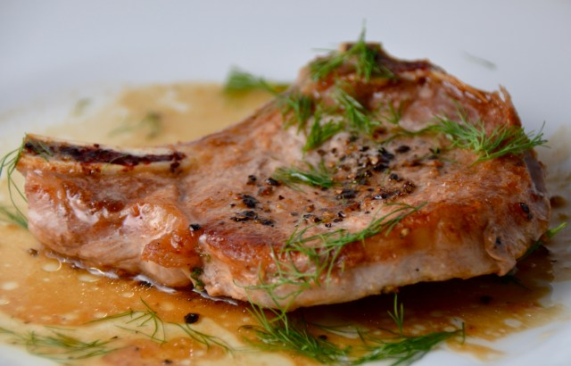 Pork Chops With Cider, Horseradish, And Dill