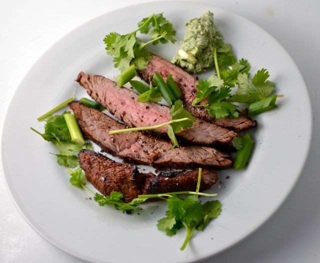 Flank Steak With Cilantro And Blue Cheese Butter