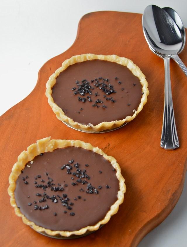 Dark Chocolate, Whisky And Black Salt Tarts