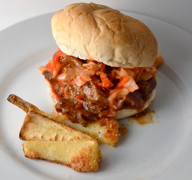 Slow Cooker Korean Spiced Pork Sandwiches And Parmesan Crusted Parsnips