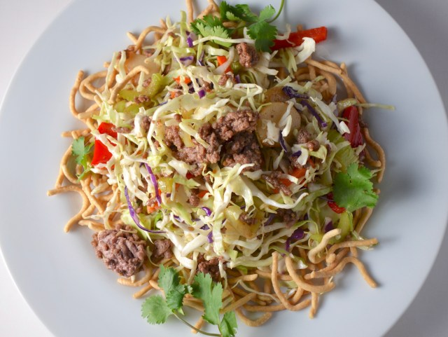 Beef with chow mein noodles