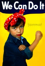 Sofia Mireles and Rosie the Riveter Rose the Riveter- US cultural icon representing American women who worked in factories during WWII. Symbol of feminism & women's economic power. #IsisProjectSA