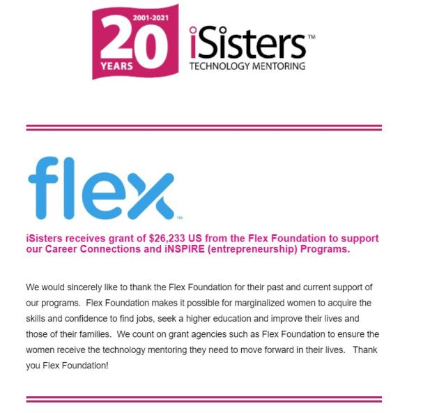 iConnect June 2021 Newsletter - iSisters Receives Flex Grant