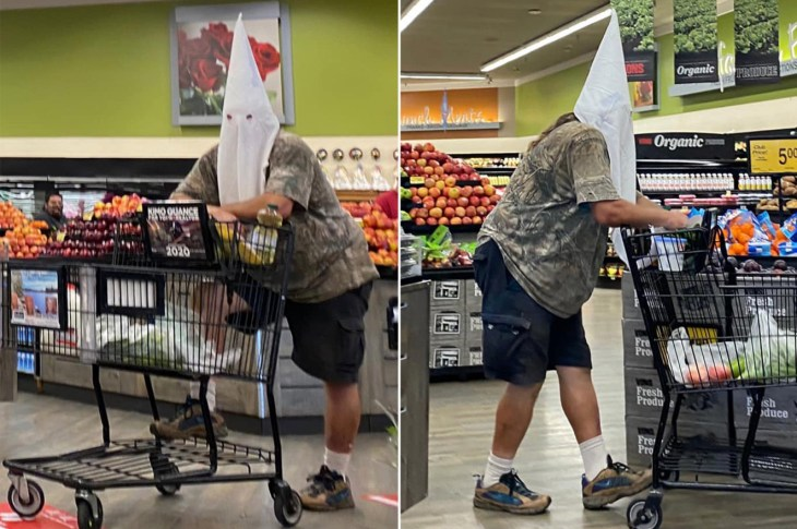 KKK face mask grocery store coronavirus