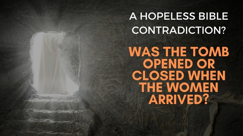 Was the tomb opened or closed when the women arrived?