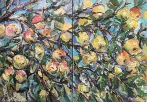 Урожайная яблочная мозаика, 70х100, холст, масло, 2020 г.,