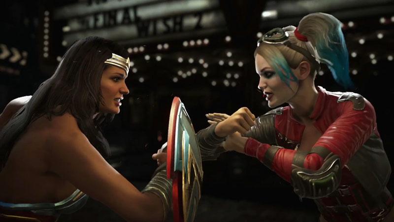 Injustice 2 enfrentando a Wonder Woman y a Harley Quinn