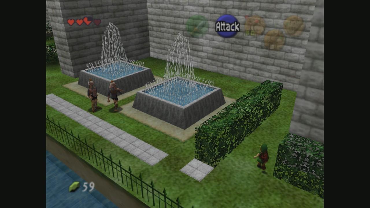 Link colándose en el palacio real para poder ver a Zelda