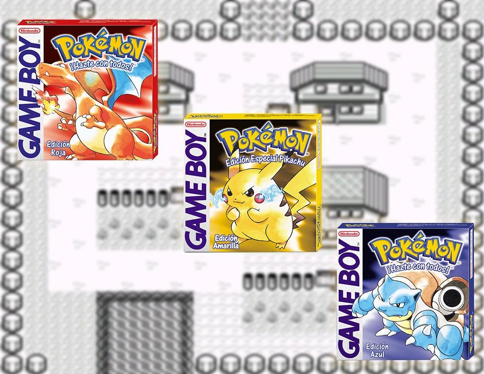 Pokémon Amarillo junto a las versiones Rojo y Azul con pueblo paleta de fondo