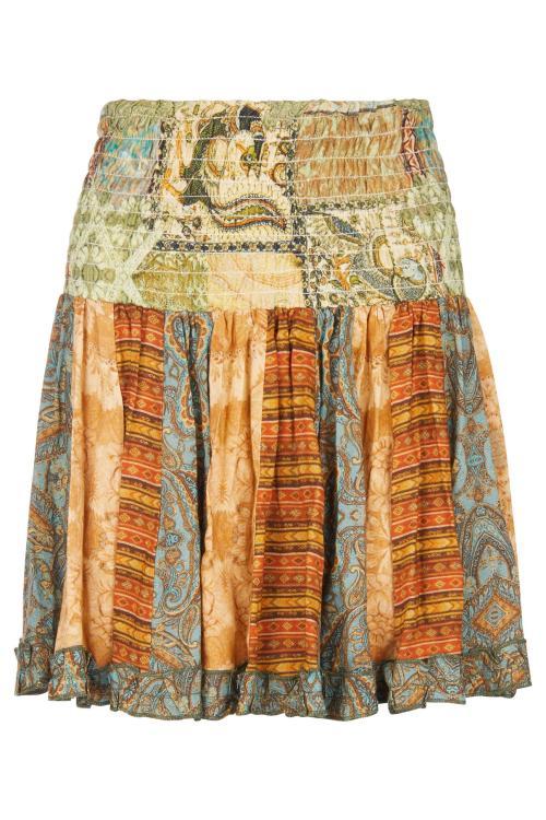 Short Bohemian Multicolor Skirt - Turquoise
