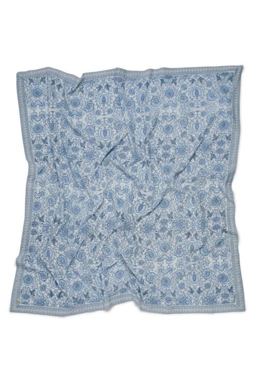 Square Scarf Floral Printed - Blue