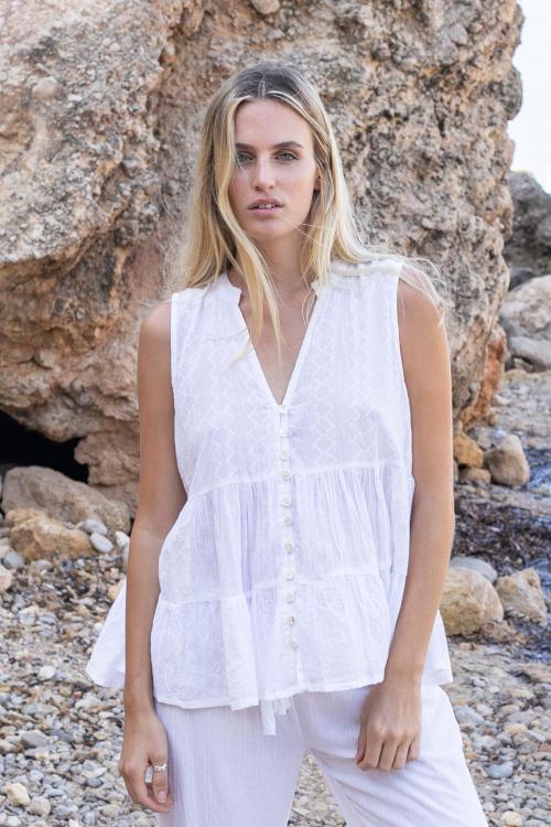 Sleeveless Blouse Summer - White