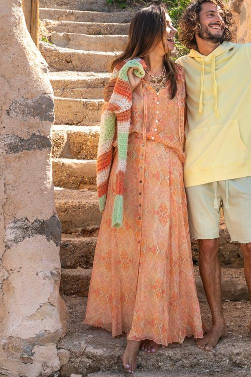Maxi Skirt Bohemian Printed- Orange