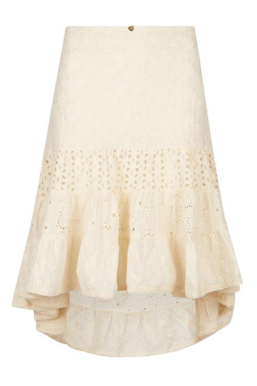 Midi Floral Embroidery Skirt - Cream