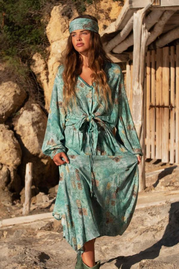 Isla Maxi Skirt All Over Printed - Turquoise