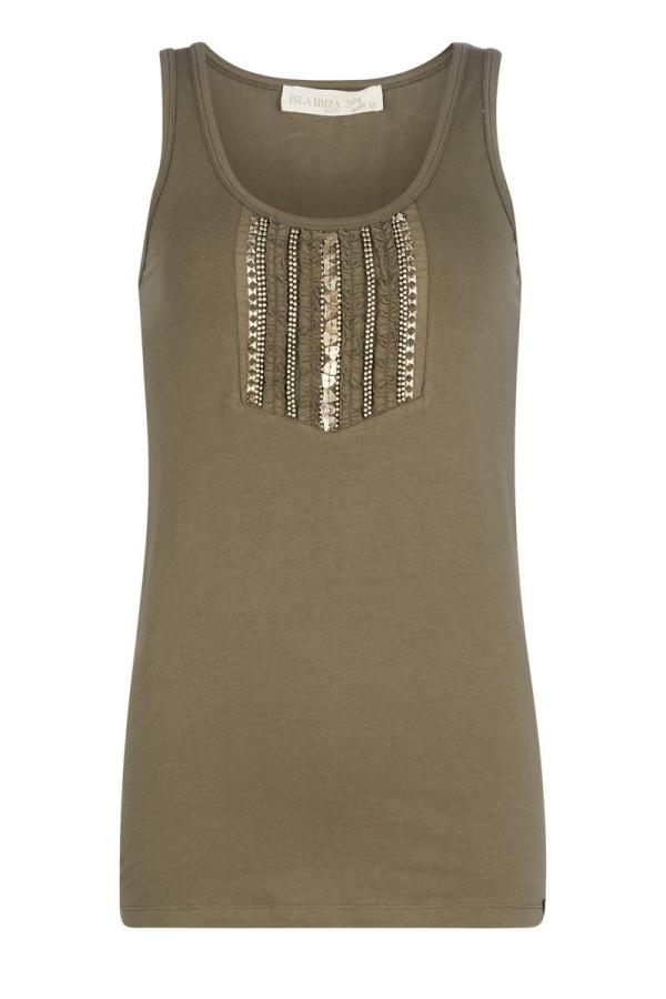 Basic Sleeveless Top Decorated Olive – Green