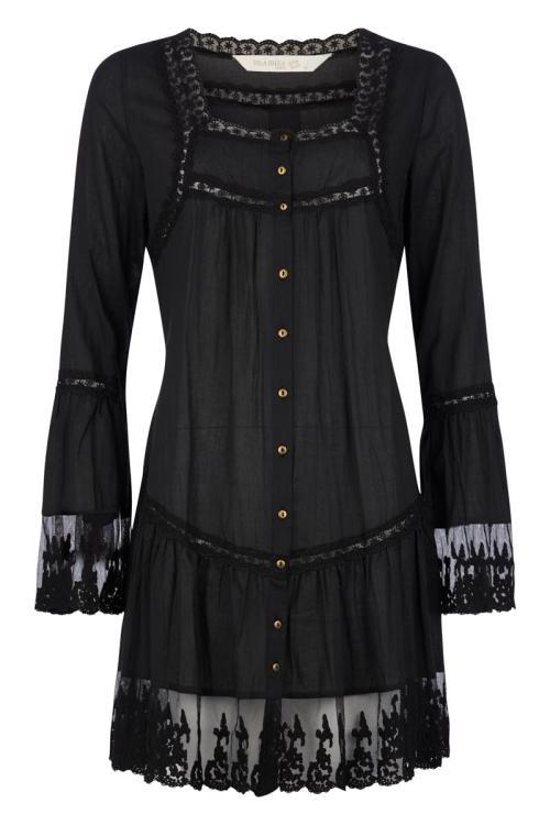 Short Dress Transparent Lace - Black