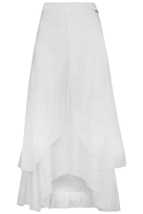 Long Layered Skirt Sunset - White