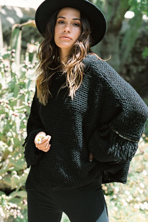 Oversized Knitted Jumper Luna - Black