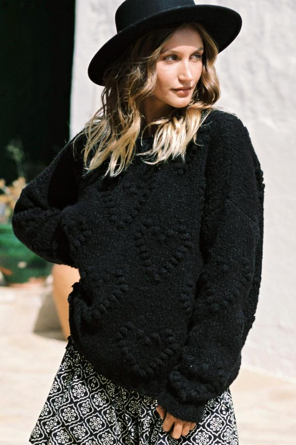 Knitted Jumper Hearts – Black