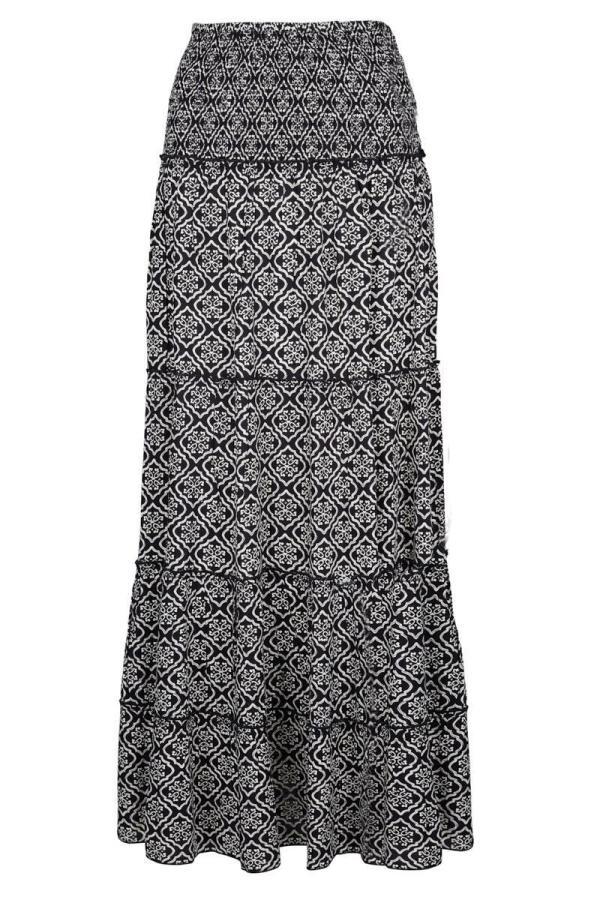 Maxi Skirt Indian Flower - Black